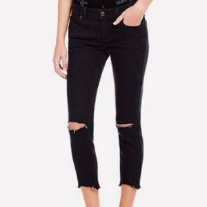 Free People Raw Fray Hem Skinny Ankle Black Jeans